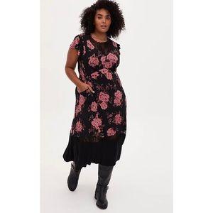 🆕Torrid Black Floral Studio Knit Midi Dress 1X 2X